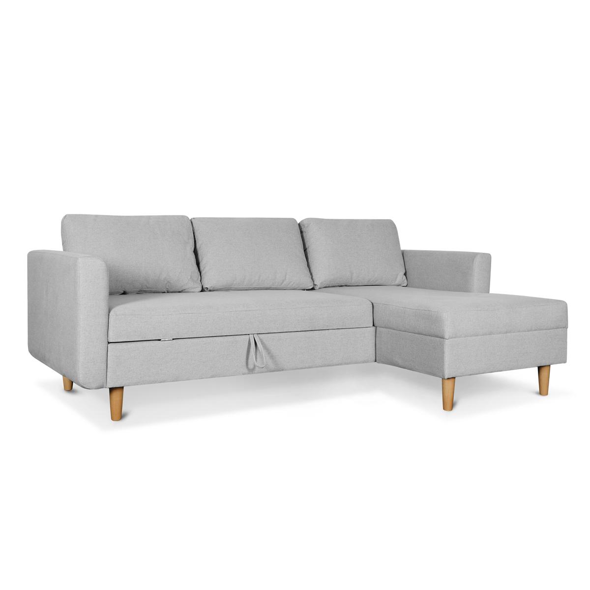 Marcel Stone Grey Left Sectional Sofa Bed Ruma