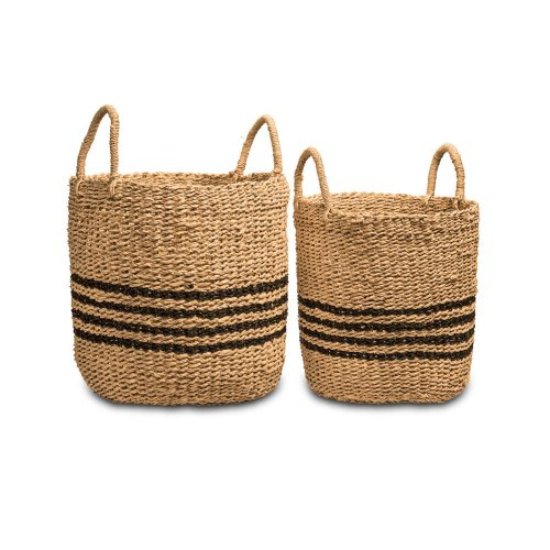 Wovenery Stripes Seagrass Baskets (Set Of 2)