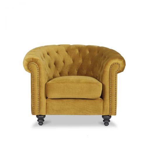 Canterbury Blonde Velvet Chesterfield 1 Seater Sofa