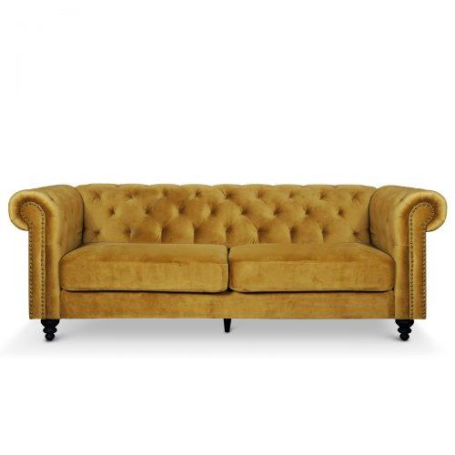 Canterbury Blonde Velvet Chesterfield 3 Seater Sofa