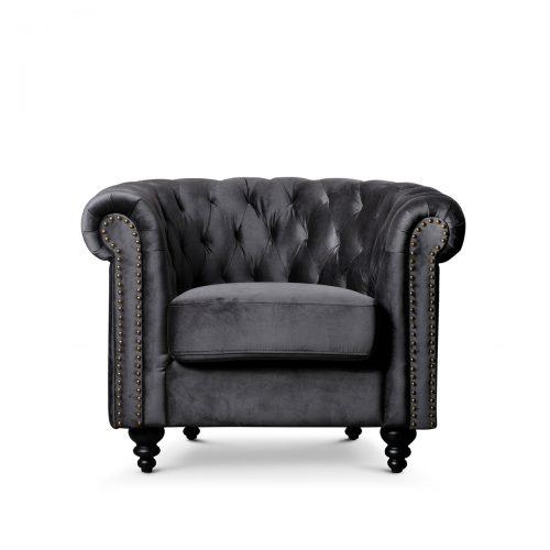 Canterbury Coal Grey Velvet Chesterfield 1 Seater Sofa