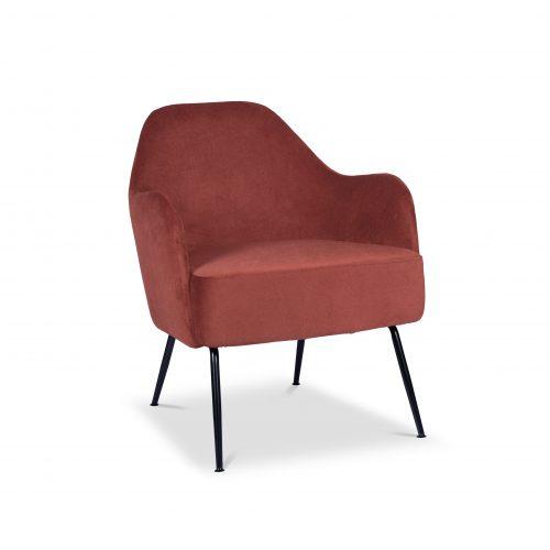 Tiffany Umber Brown Velvet Lounge Chair